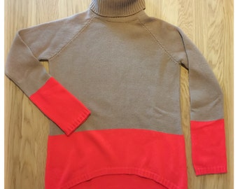 BICOLOR turtleneck cashmere sweater - machine-knit