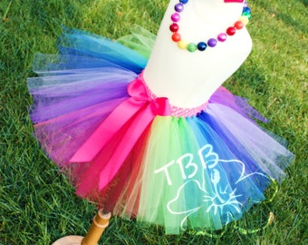 Rainbow Tutu, Girl's Birthday Tutu, Girl's Birthday Set, Birthday Outfit, Rainbow Outfit, Photo Prop
