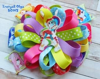 My Little Pony Equestria Inspired Hair Bow Colorful Hair Bow Equestria Rainbow Dash Bow Loopy Flower Bow Equestria Girls Birthday Party