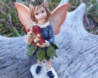 Mini Christmas Fairy holding present