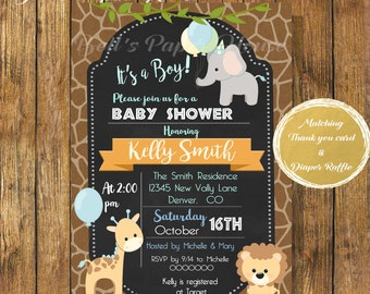 Digital File or Printed,Safari Baby Shower Invitation,Jungle Theme Baby Shower Boy,Safari Animal Invitation,Animal Baby Shower,Free Shipping