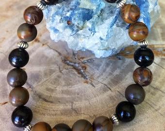 OBSIDIAN and Bamboo Jasper Stretch Bracelet! Handmade Premium Beads Healing Bracelet! Natural Healing Jewelry Meditation