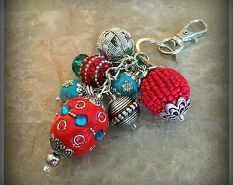 Red, Teal and Silver Cluster Of Beads Keychain, Beaded Keychain, Bag Accessories, Bag Charm, Keyring Charm, Beaded Purse Charm
