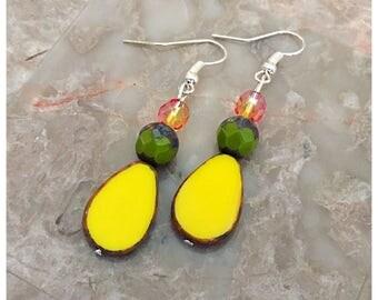 Yellow Teardrop Czech Bead Earrings, Dangle Earrings, Czech Bead Earrings, Beaded Earrings, Boho Earrings, Yellow Earrings