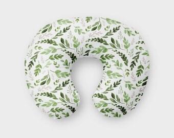 Green Leaves Boppy Cover, Nursing, Pillow Cover, Woodland, Boho, Tribal, Breastfeeding Pillow, Slipcover, crib bedding, greenery bedfing