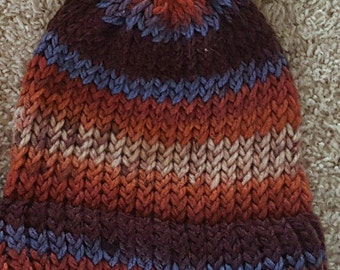 Orange and Blue Striped Knit Hat