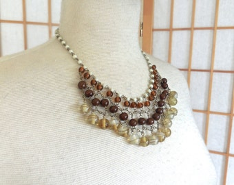 Vintage 70s Bib Necklace with Brass Chain Maille and Dangling Murano Glass Beads