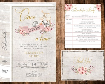 Woodland Birthday Invitation , Once Upon A Time Birthday Invitation,  Woodland Baby Shower Invitation,