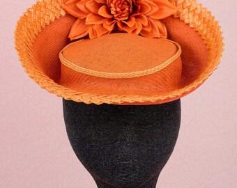 Orange Boater, Orange  Fascinator,  Couture Millinery,  Fascinator, Melbourne Cup, Spring Racing Carnival, Racing Fashion
