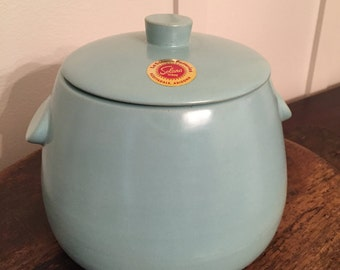 Vintage La Solana Potteries Aqua Blue Bean Pot or Cookie Jar with Lid | Solana Ware