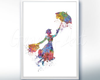 Disney Mary Poppins Watercolor Poster Print - Watercolor Painting - Watercolor Art - Kids Decor- Nursery Decor [3]