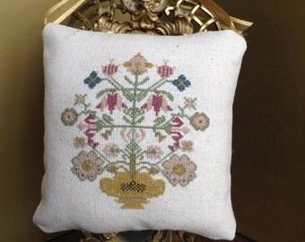 Cross Stitch Pillow Ornament, Primitive Ornament, Primitive Cross Stitch Ornament, Cross Stitch Ornament, Small  Pillow, Door Hanger