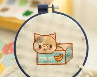 a cat box - cross stitch pattern PDF, JPG - Instant download