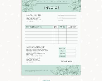 Invoice template, Photography invoice, Business invoice, Receipt template for Photographers, Photography forms, Photoshop template, Floral