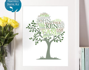 Printable Personalised Family Tree Typography Print   Digital File   Personalized Word Art Gift for Sister, Parents   Mother's Day Gift
