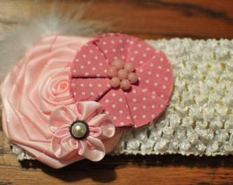 Vintage inspired headband, Baby flower Headband, Baby headband, Flower headband, Pink headband, Crochet headband, Newborn Photos