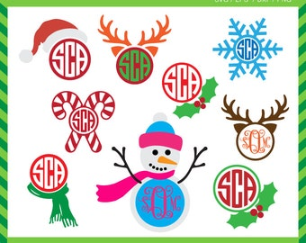 Christmas Monograms svg Circle Monogram santa Frames SVG DXF PNG eps xmas Cut Files for Cricut Design, Silhouette studio, Digital download