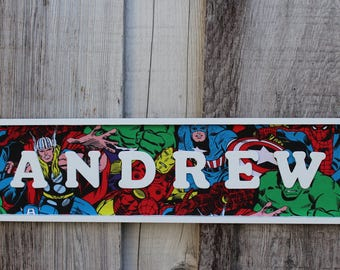 Avengers Name Sign for a wall or door. Avengers room sign, Avengers party, Super hero wall art, superhero party