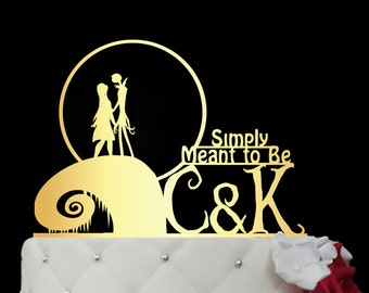 Wedding Cake Topper - jack and sally cake topper-The Nightmare Before Christmas Wedding Cake Topper - Cake Topper jack and sally M1-01 -002