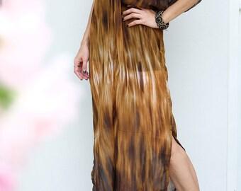 Leopard Dark Brown Chiffon Beach Dress Swimsuit Bikini Cover Up | Casual Maxi Short Sleeve Dress | Spring/Summer Dress