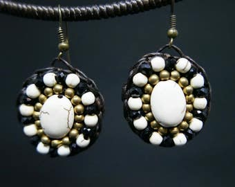White Turquoise Gold Black Crystal Circle Dangle  Beaded Earrings Handmade Jewelry Brass Hook