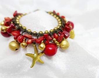 Red Stone Bead Gold Strawberry Pineapple Starfish Charm Bracelet  I Handmade Jewelry Accessories