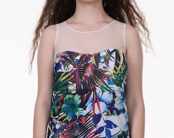 Blue Stardust top, semi sheer top, flowers print, sleeveless top, heart neckline, loose fit shirt, summer top, tropical print, Hawaiian top
