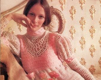 Juliet midi dress crochet UK pattern from 1971