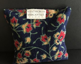 Handmade sachet pillow, filled with balsam fir from Maine, covered in printed cotton, made in New England