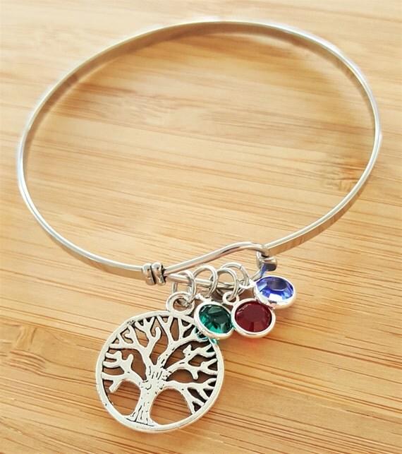 Mom Bracelet with Birthstones Grandma Bracelet with Birthstones Birthstone Bracelet Mom Gift Grandma Gift Tree of Life Bracelet