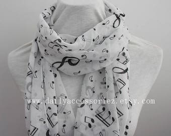 music chiffon scarf, music notes, Music gifts, music sheets, piano shawl, piano gifts, piano teacher gift, panist gift, for her, white scarf