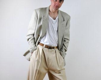 FREE SHIPPING Mens vintage suit, 80s mens suit, Beige double breasted vintage suit, Plaid suit, Large size, mens formal