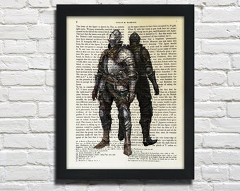 Dark souls, Knight, printed on Vintage Paper - dictionary art print, book prints
