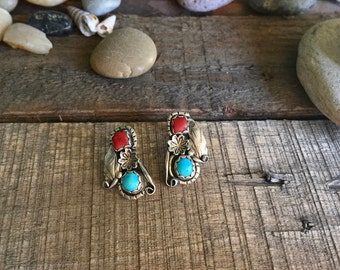 Vintage Sterling Silver Navajo Handmade Turquoise and Coral Earrings