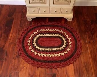 Crochet Welcome Mat - Outdoor Mat - Housewarming Gift - Fall Decor - Handmade Oval Rug - Front Door Decor - Door Mat - Gift Idea