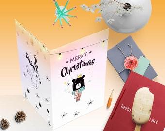 Unique Christmas cards, Christmas Printable card, Christmas Cards,  Merry Christmas, woodland Christmas card, Xmas card, holiday cards, xmax