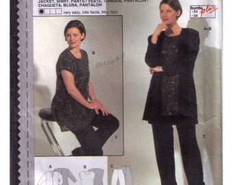 Uncut Burda 3137, 80s Pattern, Misses Jacket, Shirt, Pants, Size 18-28.