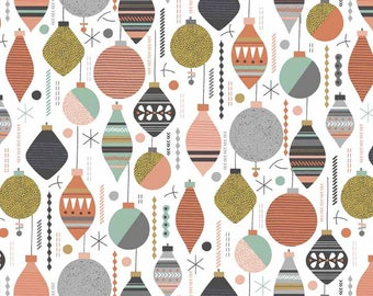 Modern Christmas ornament fabric - Christmas bauble material - 100% Cotton fabric - Quilting fabric - Holiday decoration fabric - Makower