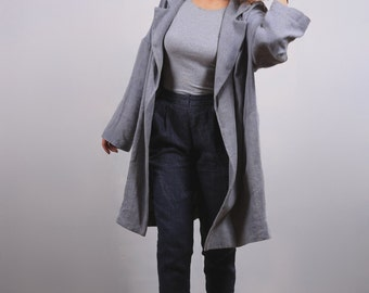 Linen Coat, Loose Fit coat with Drop Down Shoulders Long Sleeves, Denim Effect Faded Color, Womans cloth.