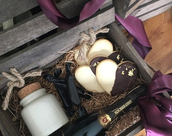 Chocolate Dipped Heart Sugar Cookies with Gold Leaf