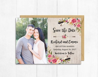 Rustic Boho Floral Feathers Photo Save the Date Card, Printable Floral Photo Save the Date, Photo Save Date, Bohemian, Arrows Download 106-A