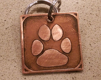 Dog ID Tag - Paw Print in Copper