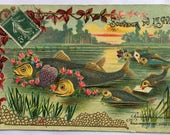 April 1st Embossed card * Antique 1900s from France