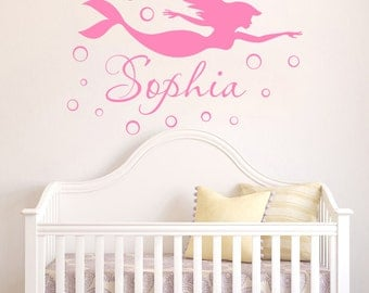 Ordinaire Mermaid WALL DECAL Name Personalized Vinyl Decals Sticker Mermaid  Girl Name Wall Decor For Girls