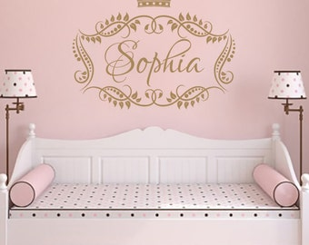 name wall decal girl princess crown vinyl lettering decal sticker frame custom decals personalized name decor nursery baby room art x273