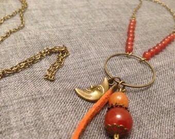Necklace * Moon relationships *, long necklace, Carnelian, bronze Moon pendant