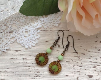 Green & bronze earrings, vintage boho style earrings, dangle earrings, beaded drop earrings, girlfriend gift, gift for mum, mothers day gift