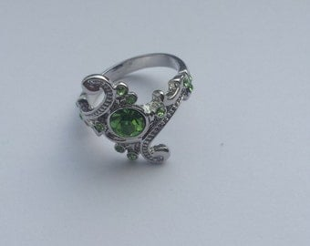 Green crystal slytherin ring size 9