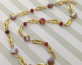 Necklace Fire Dyed Agate and Amber Glass
