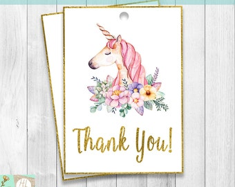Thank You Tags, Unicorn Party Favor Gift Tags, Unicorn Birthday Party, Unicorn Floral Birthday Decor, Floral Gift Tags, Instant Download